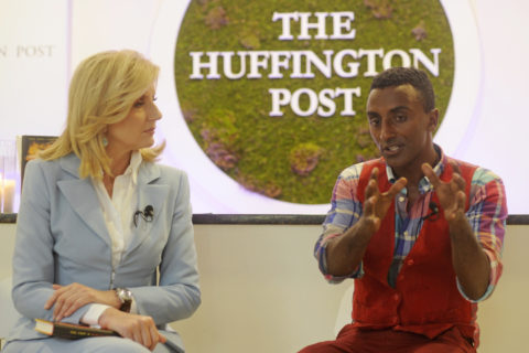 Chef Marcus Samuelsson talks with Arriana Huffington at The Huffington Post's Oasis at the Democratic National Convention on Tuesday, September 4, 2012 in Charlotte, NC. (David Manning for The Huffington Post)